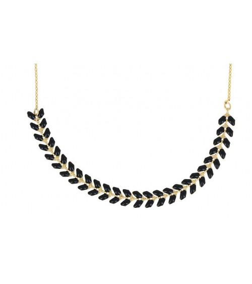 """Collier """"épi"""" en plaqué or et émail noir, en longueur 42 cm réglable jusqu'à 47 cm"""