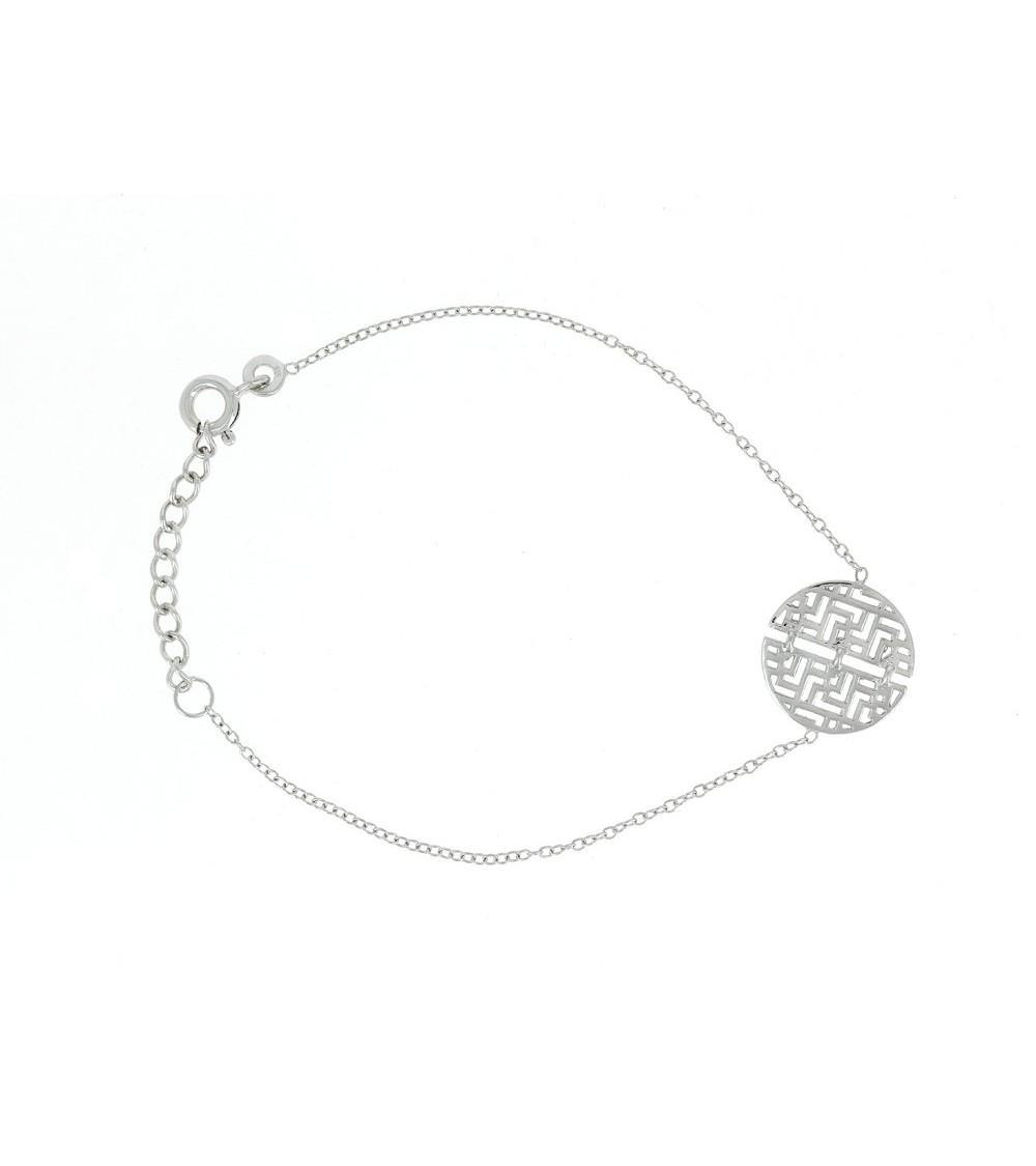 Bracelet en argent 925/1000 rhodié au motif géométrique, en longueur  16 cm ajustable jusqu'à 19 cm