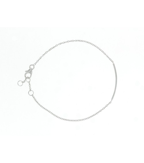 Bracelet en argent 925/1000 rhodié avec une petite barre  incurvée (longueur 17 cm réglable à 18 et 19 cm)