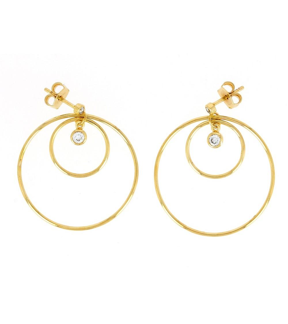 Boucles d'oreilles 2 anneaux reliés par des oxydes de zirconium, avec poussettes