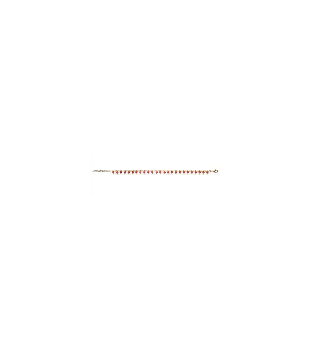 Gourmette en plaqué or avec pampilles en cristal rouge (longueur 18 cm ajustable)