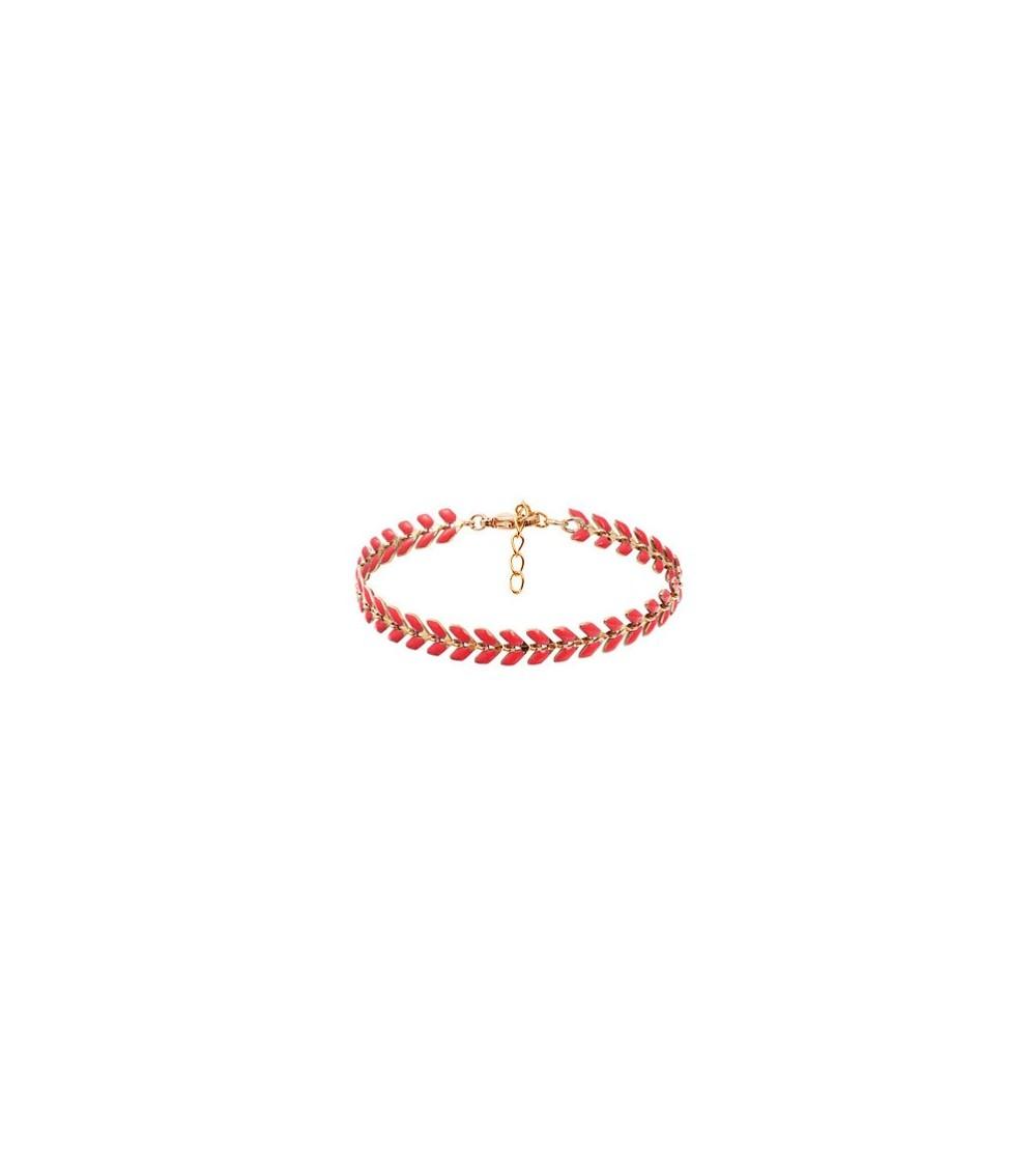 """Bracelet """"épi"""" en plaqué or et émail de couleur orange, en longueur 17 cm + 3 cm de chaîne d'extension"""