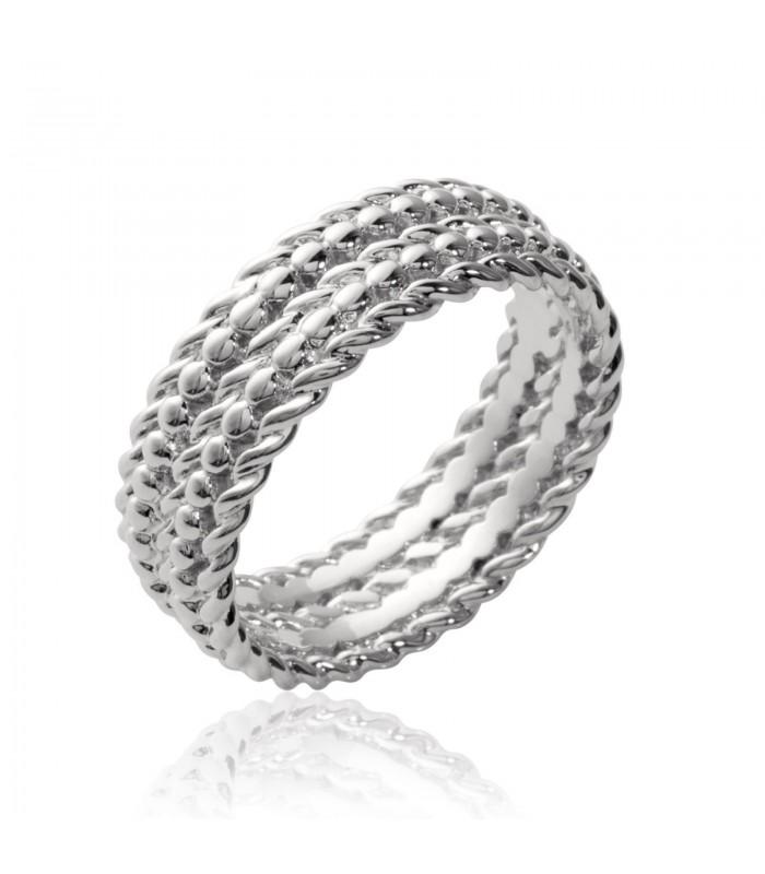 Bague anneau en argent 925/1000 rhodié