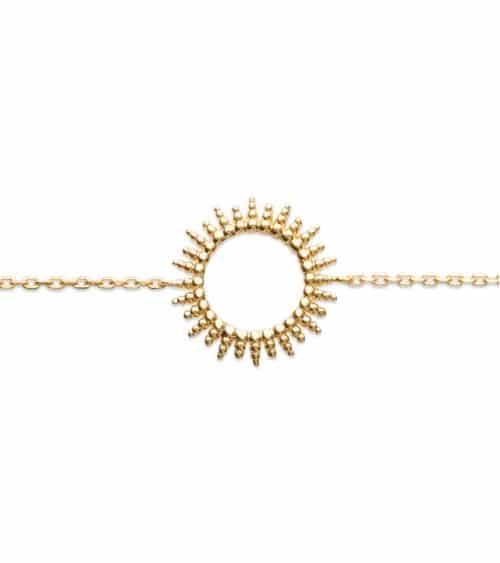 """Collier """"soleil"""" en plaqué or, longueur 45 cm réglable à 42 et 40 cm"""
