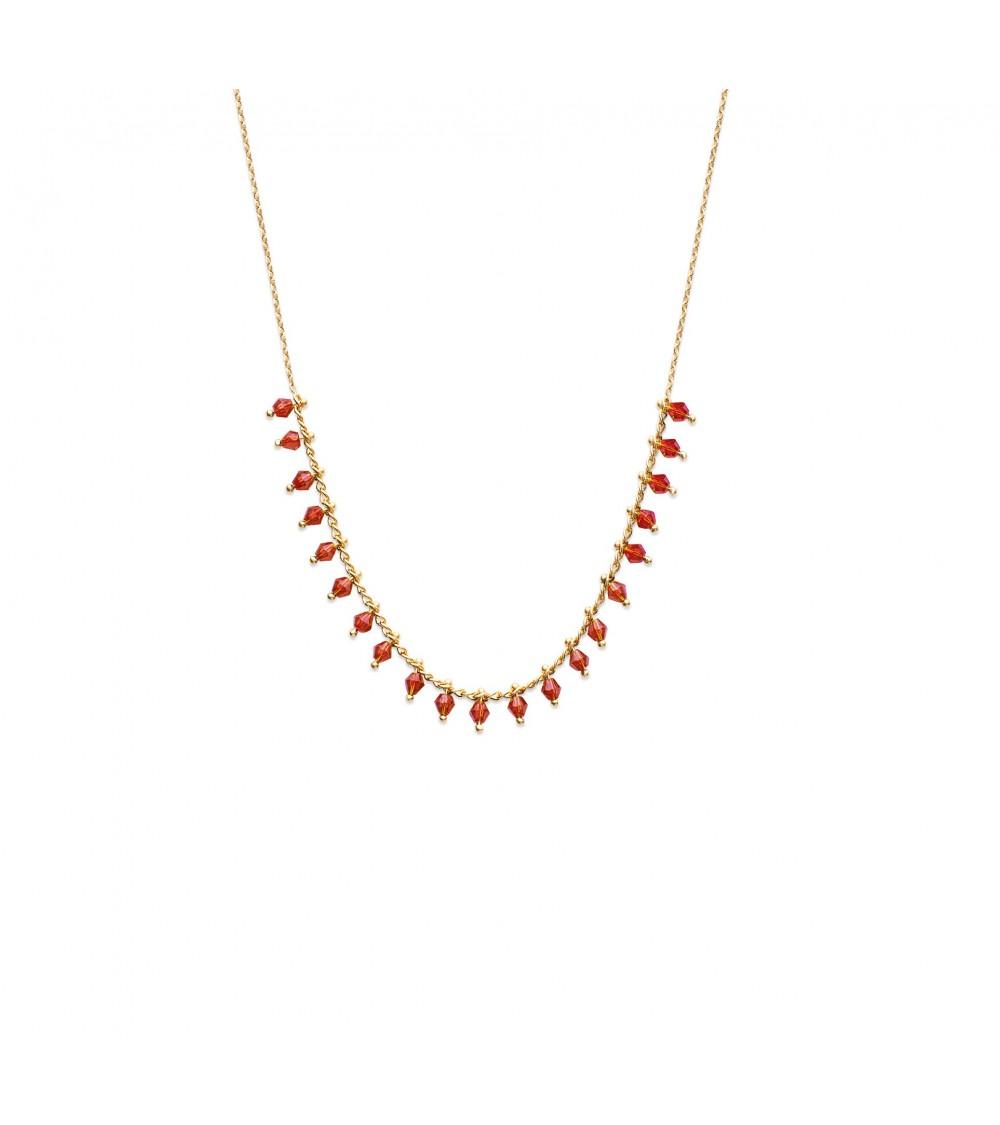 Collier en plaqué or avec pampilles en cristal rouge ( longueur 42 cm)