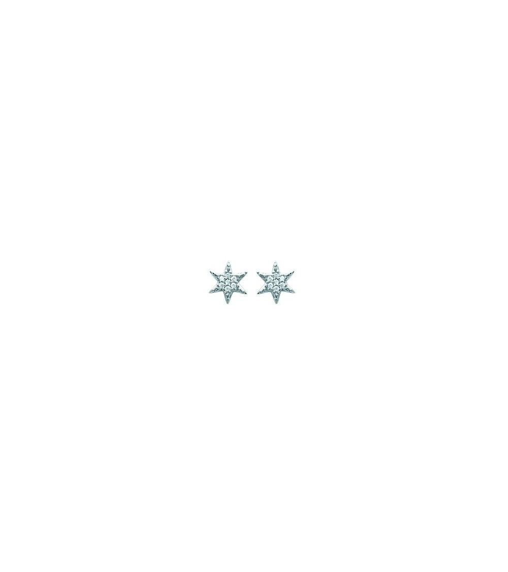 """Boucles d'oreilles """"étoile"""" en argent 925/1000 rhodié et oxydes de zirconium, avec poussettes"""