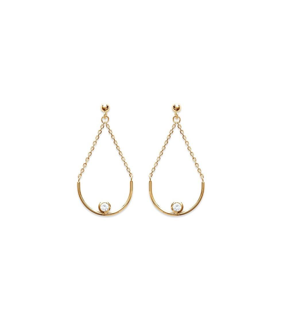 Boucles d'oreilles en plaqué or avec arc de cercle orné d'un oxyde de zirconium et chaînette, avec poussettes