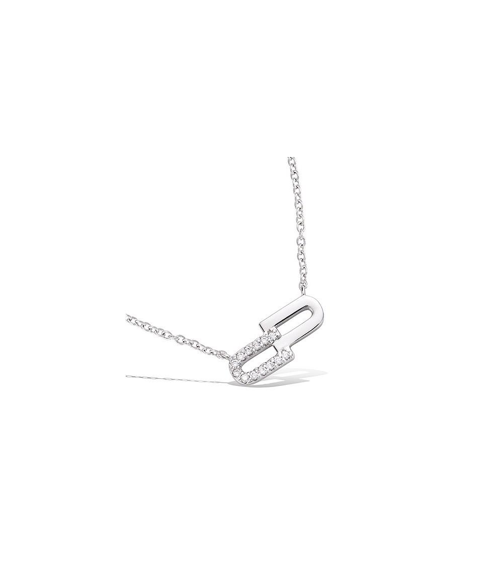 Collier en argent 925/100 rhodié avec 2 rectangles dont 1 serti d'oxydes de zirconium (longueur 45 cm ajustable)