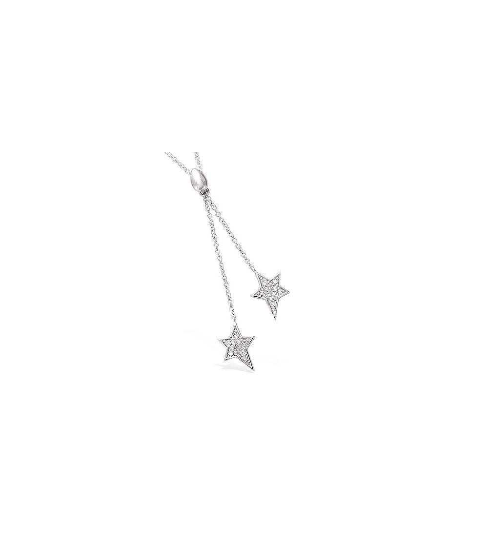 Collier en argent 925/1000 rhodié double étoile serties d'oxydes de zirconium (longueur 45 cm réglable à 42 et 40 cm)
