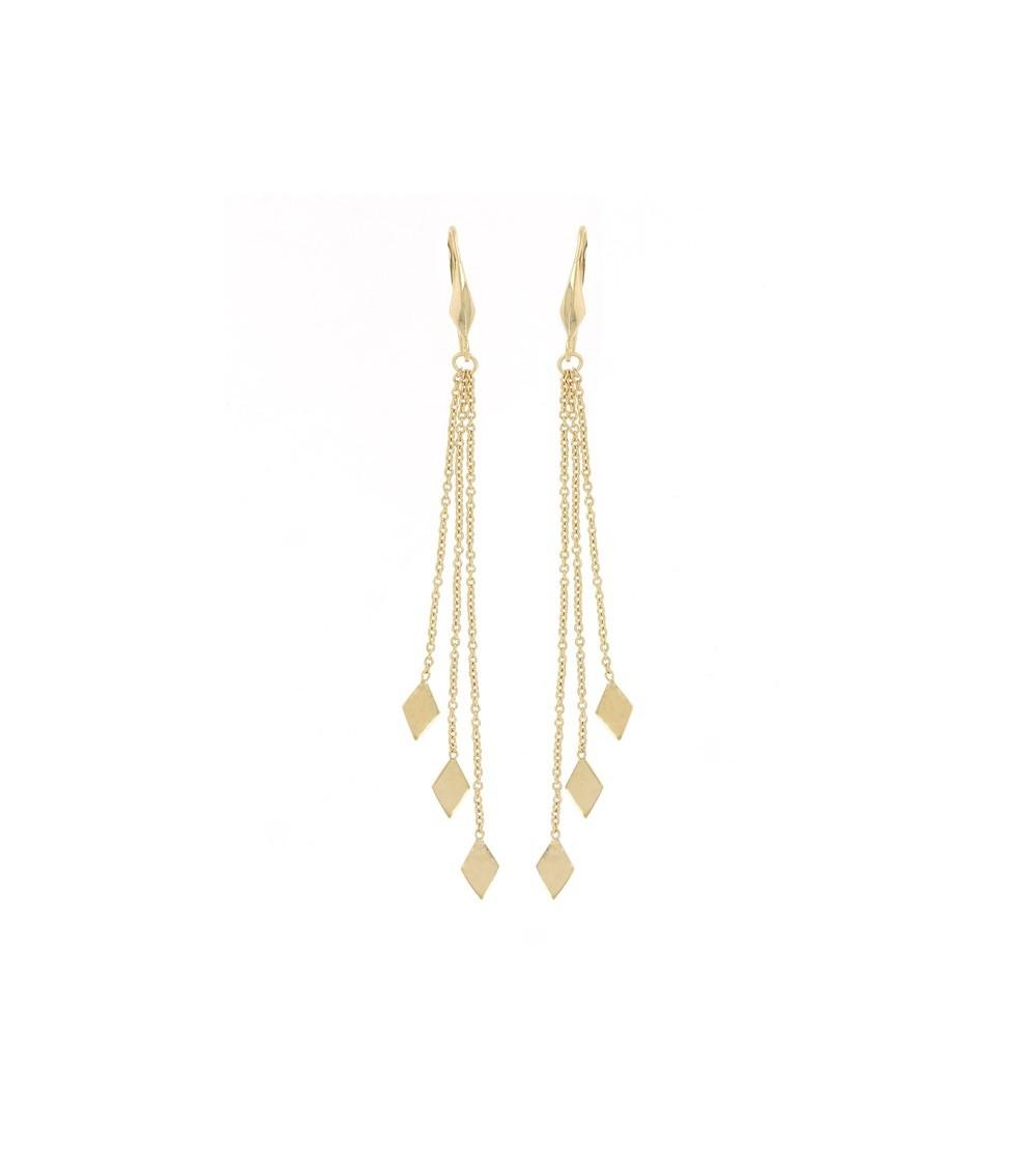 Boucles d'oreilles en plaqué or 3 microns 585/1000ème pendantes avec losange au bout