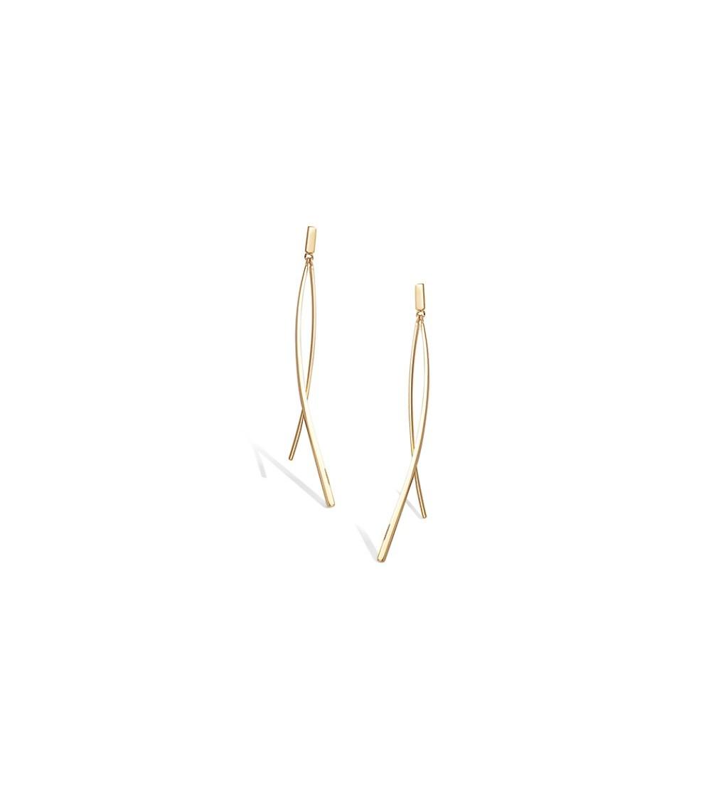 Boucles d'oreilles en Plaqué or , 2 baguettes lisses, avec poussettes