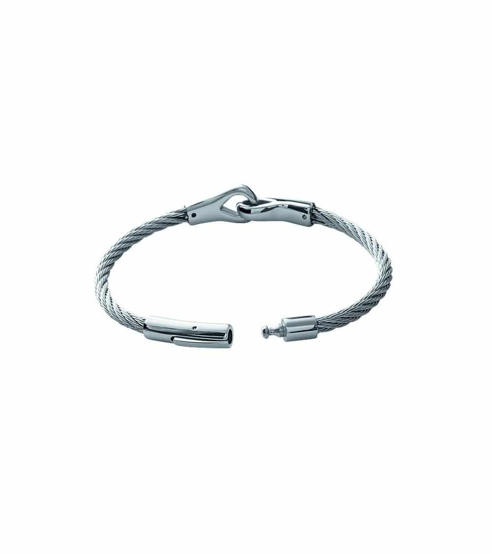 """Bracelet homme en câble acier motif """"menottes"""" (66 mm)"""