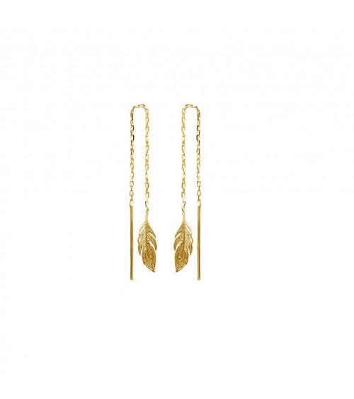 Boucles d'oreilles  traversantes en plaqué or, motif plumes