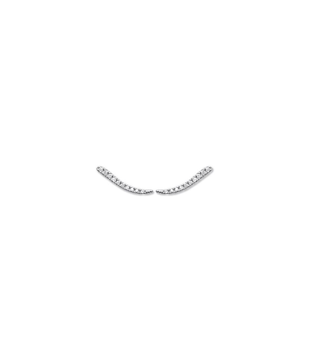 """Boucles d'oreilles """"contour d'oreilles"""" en argent 925/1000 rhodié et oxydes de zirconium micro sertis"""