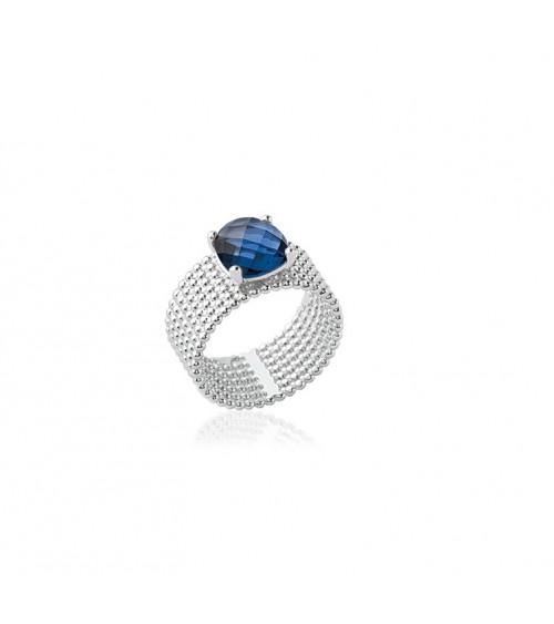 """Bague anneau à picots en argent 925/1000 rhodié,surmontée d'un oxyde de zirconium de couleur """"bleu saphir"""""""