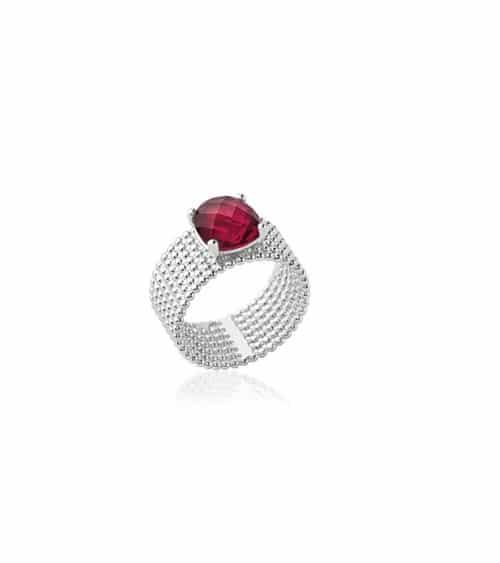 """Bague anneau à picots en argent 925/1000 rhodié,surmontée d'un oxyde de zirconium de couleur """"rouge"""""""
