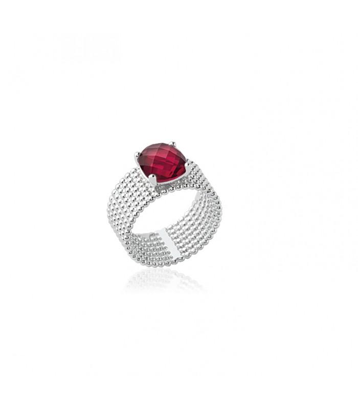 """Bague anneau à picots en argent 925/1000 rhodié,surmontée d'un oxyde de zirconium de couleur """"bleu rouge"""""""