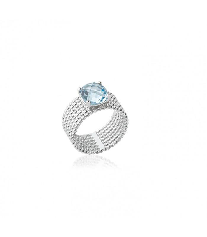"""Bague anneau à picots en argent 925/1000 rhodié,surmontée d'un oxyde de zirconium de couleur """"bleu clair"""""""