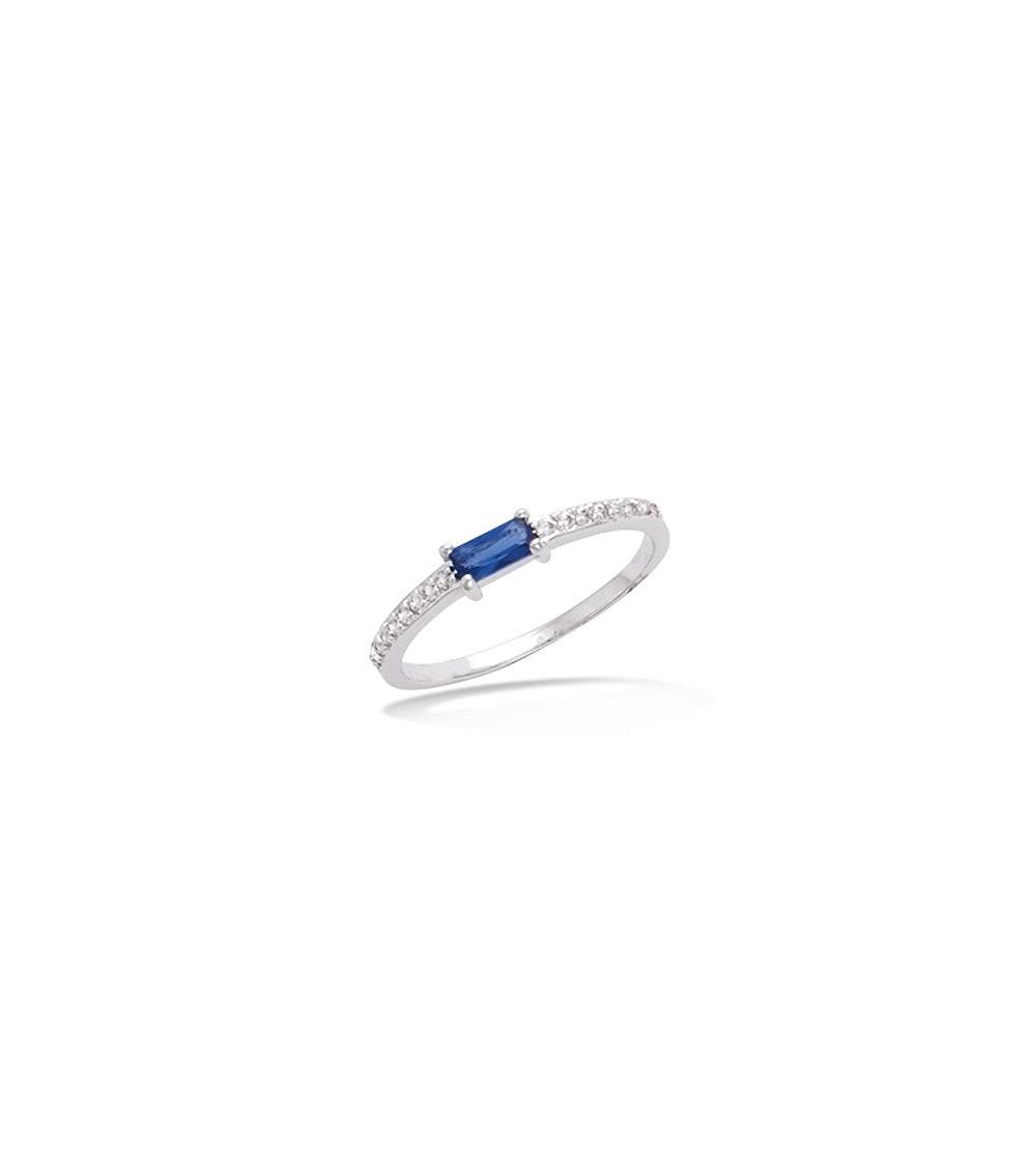 Bague en argent 925/1000 rhodié avec oxydes de zirconium et verre teinté couleur bleu saphir