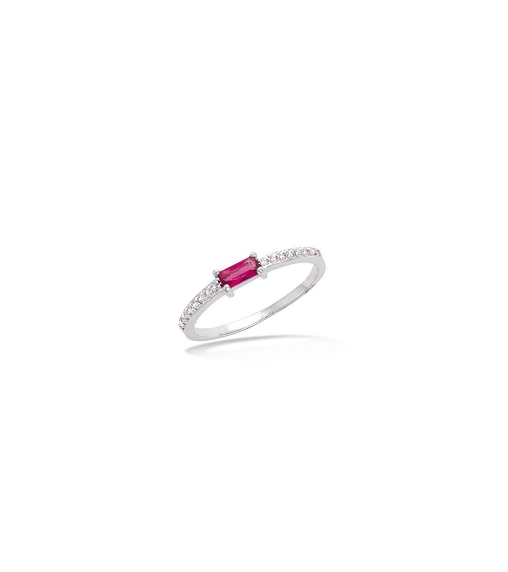 Bague en argent 925/1000 rhodié avec oxydes de zirconium et verre teinté couleur rubis
