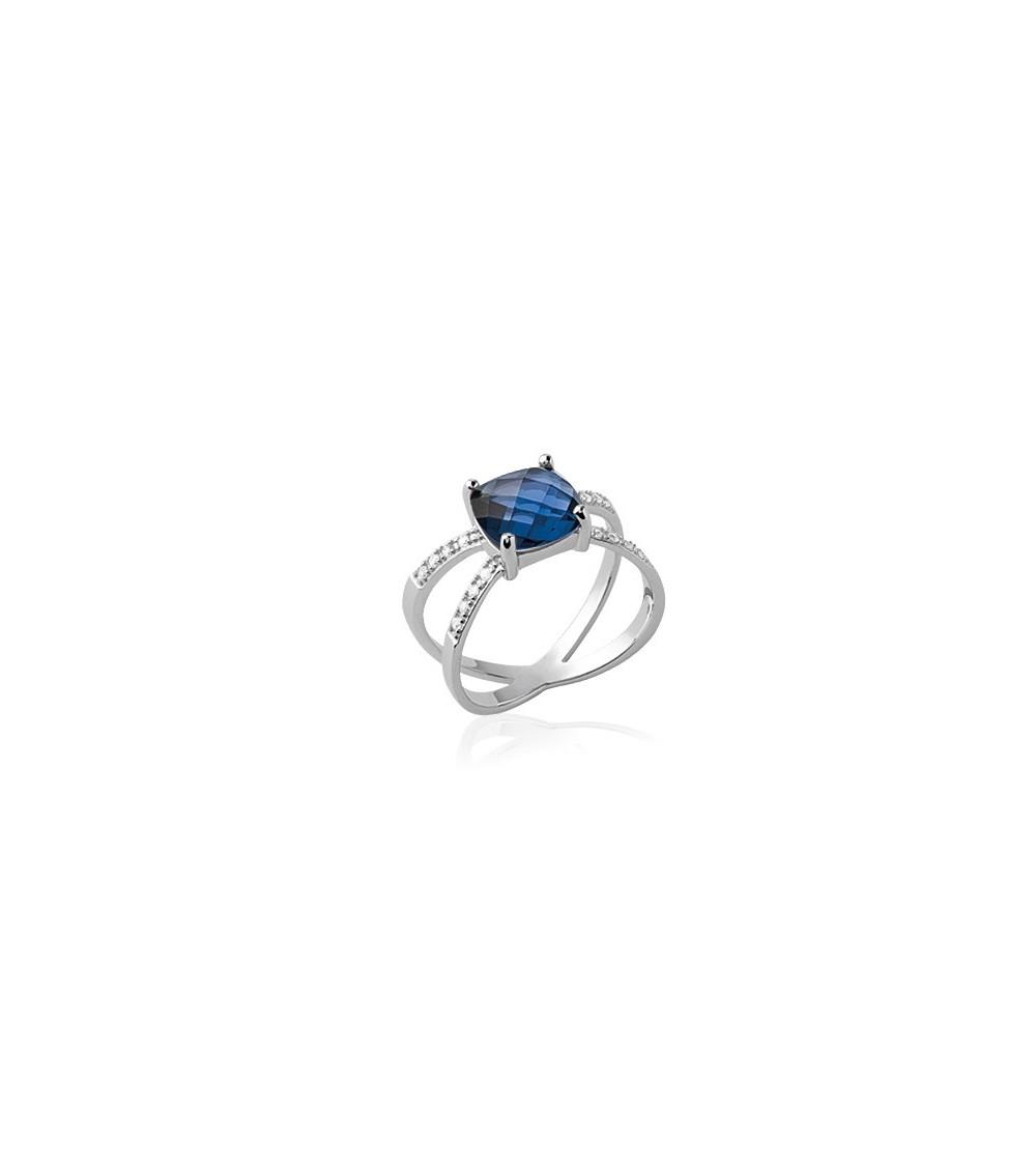 """Bague croisée en argent 925/1000 rhodié avec oxydes de zirconiums blancs et un de couleur """"bleu saphir"""""""
