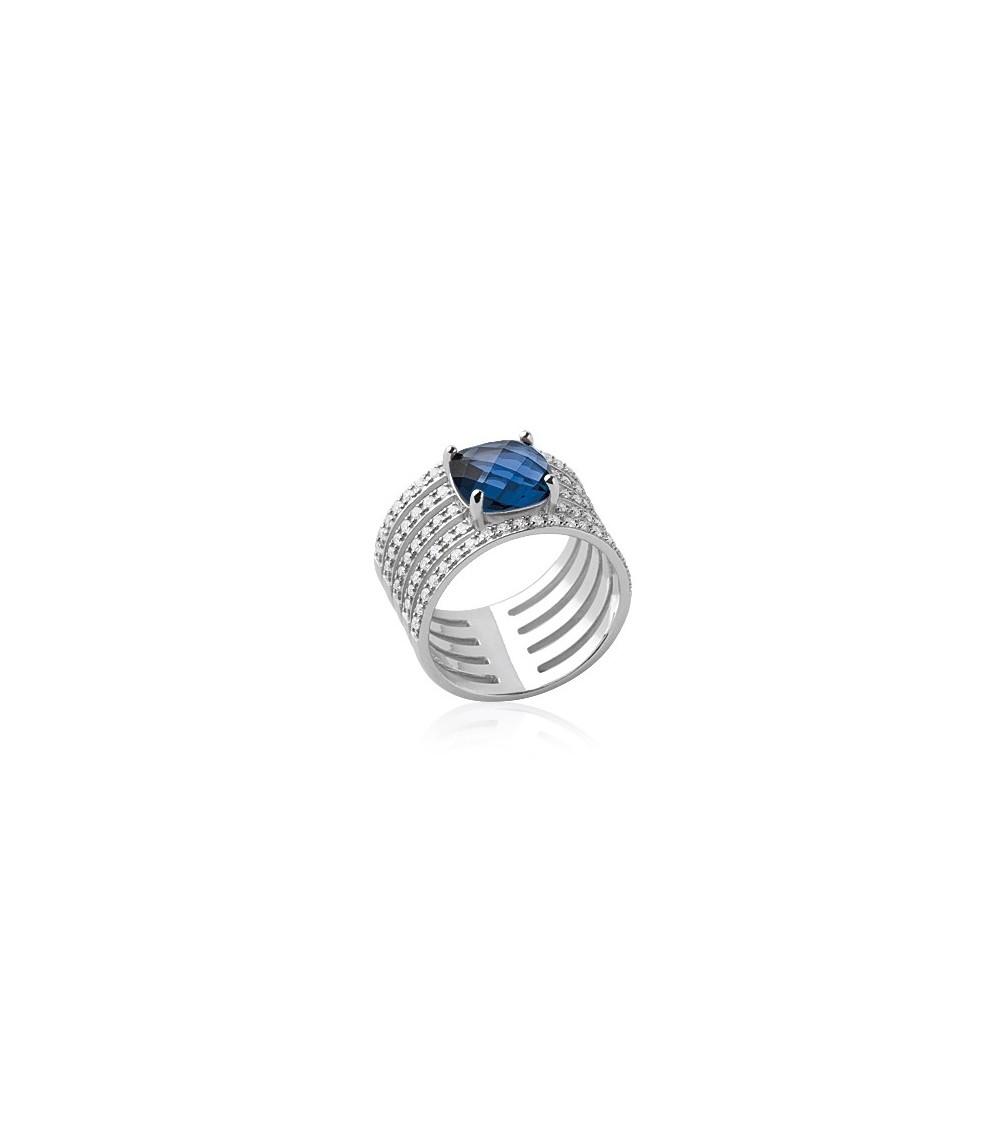 Bague en argent 925/1000 rhodié avec 5 demi-rangs d'oxydes de zirconium surmontés d'un oxyde de zirconium bleu foncé