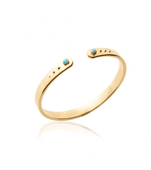 Bracelet ouvert en plaqué or avec pierre de synthèse bleue