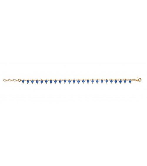"""Bracelet en plaqué or avec """"pampilles"""" en cristal bleu (longueur 18 cm ajustable à 16 cm)"""