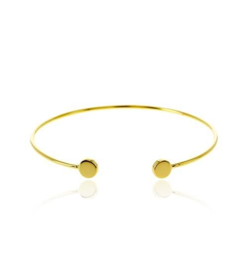 Bracelet rigide ouvert en plaqué or avec à chaque extrémité une pastille lisse