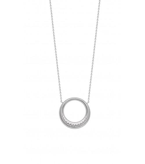 Collier en argent 925/1000 rhodié avec un rond orné de mini boules, en longueur 45 cm réglable à 42 cm