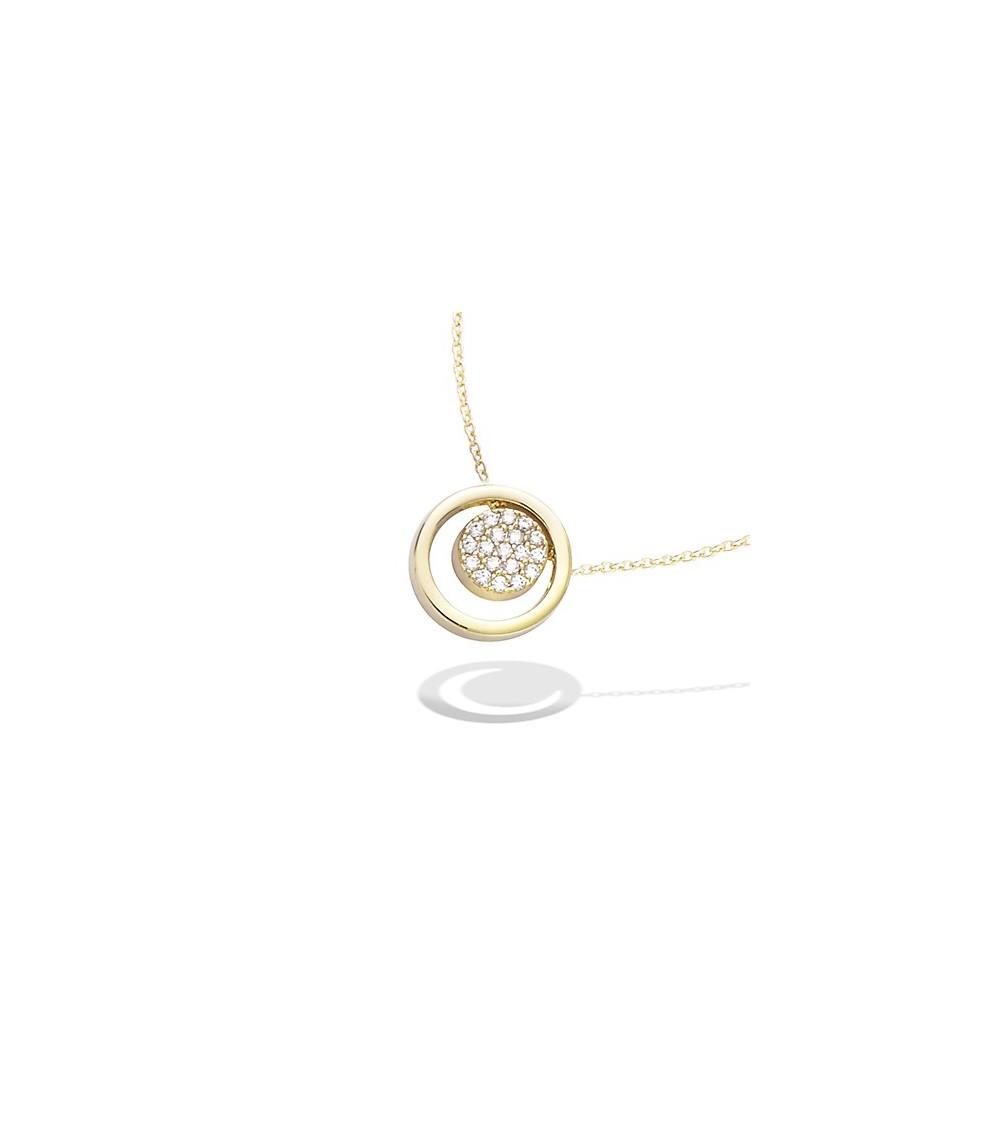 Collier en plaqué or avec pastille sertie d'oxydes de zirconium mobile dans un rond (longueur 45 cm réglable en 42 et 40 cm)