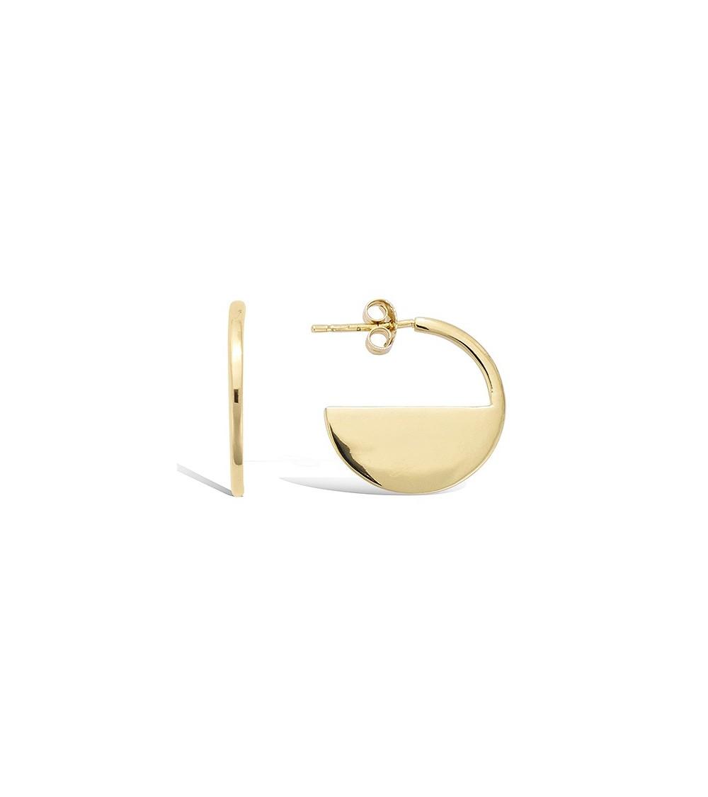 Boucles d'oreilles en plaqué or demi sphère, avec poussettes