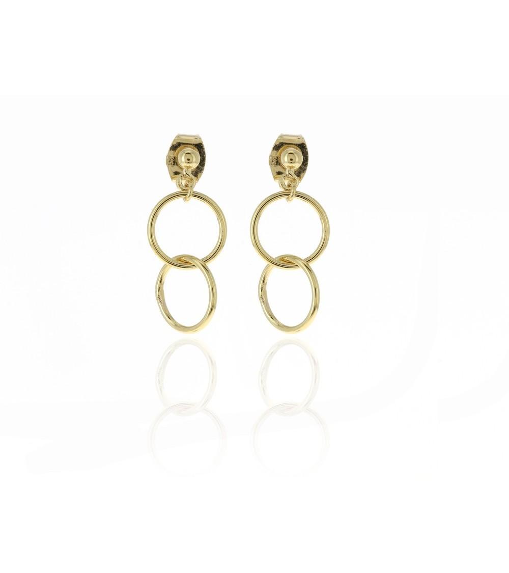 Boucles d'oreilles en plaqué or double anneau avec poussettes