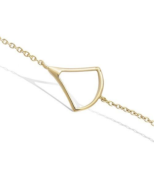 Bracelet en plaqué or avec motif éventail en longueur 18 cm