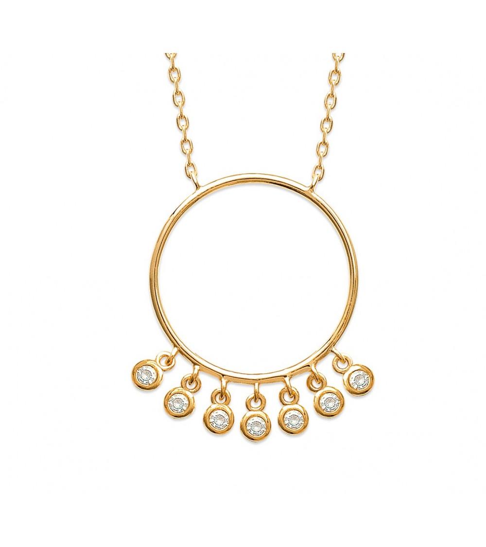 Collier en plaqué or avec un anneau orné de pampilles en oxydes de zirconium (longueur 45 cm réglable en 42 et 40 cm)