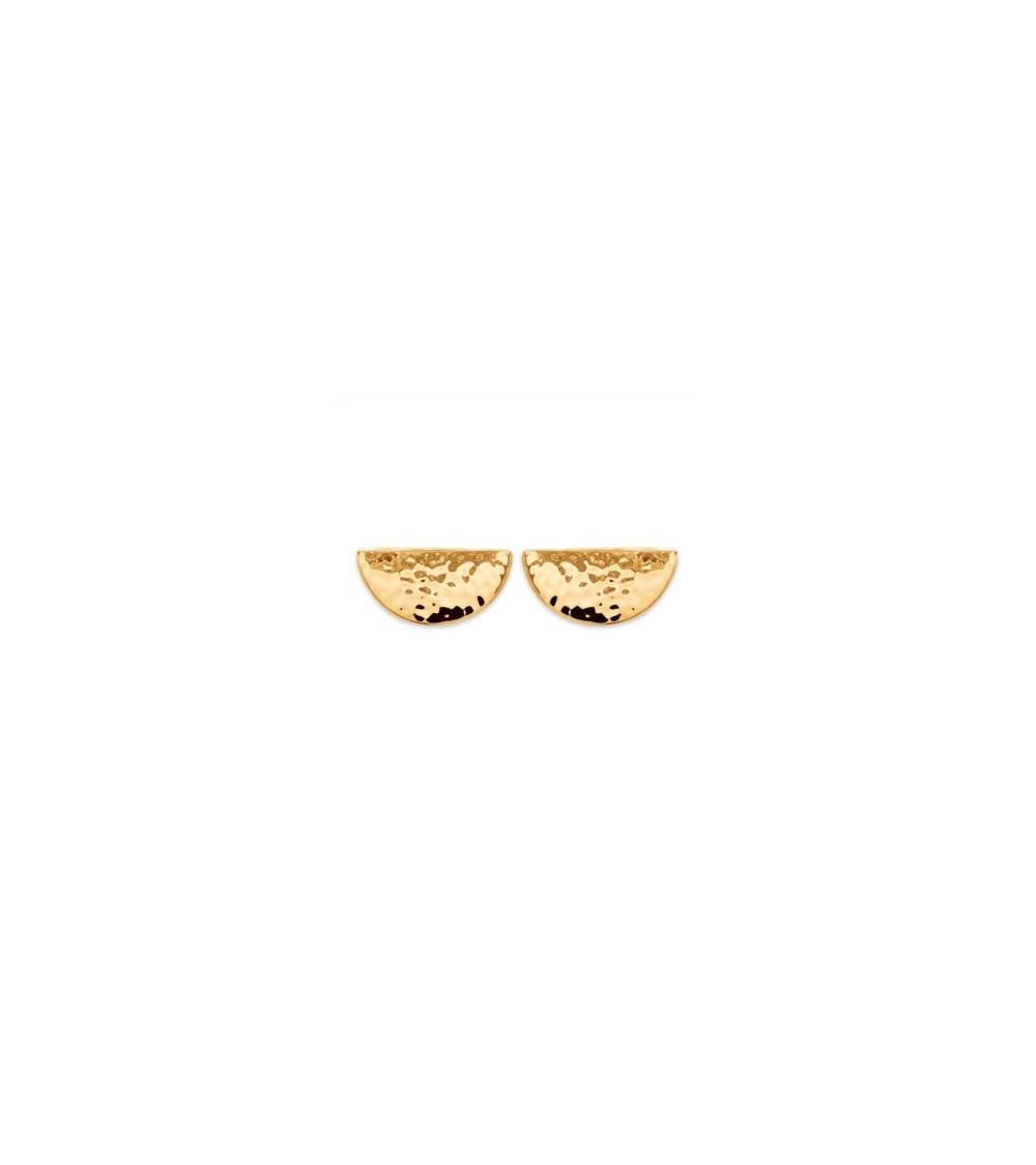 Boucles d'oreilles demi sphère en plaqué or martelé, avec poussettes