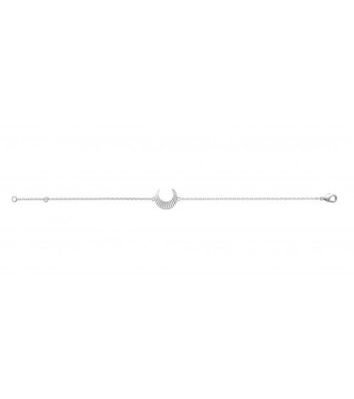 """Bracelet """"lune"""" striée en argent 925/1000 rhodié, en longueur 18 cm ajustable à 16 cm"""