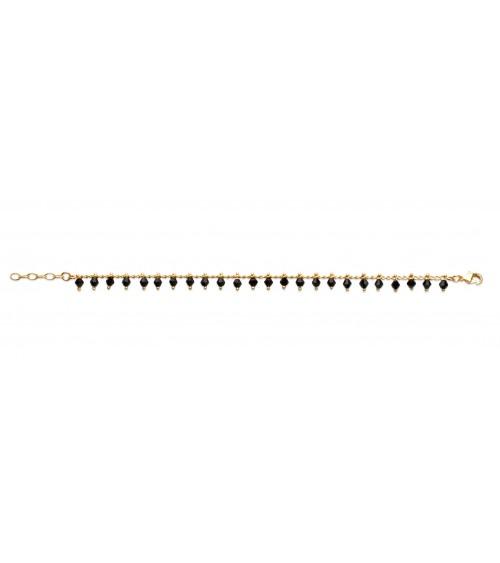 """Bracelet en plaqué or avec """"pampilles"""" en cristal noir (longueur 18 cm ajustable à 16 cm)"""