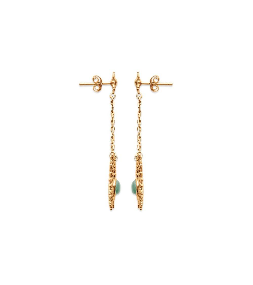 Boucles d'oreilles pendantes en plaqué or et aventurine
