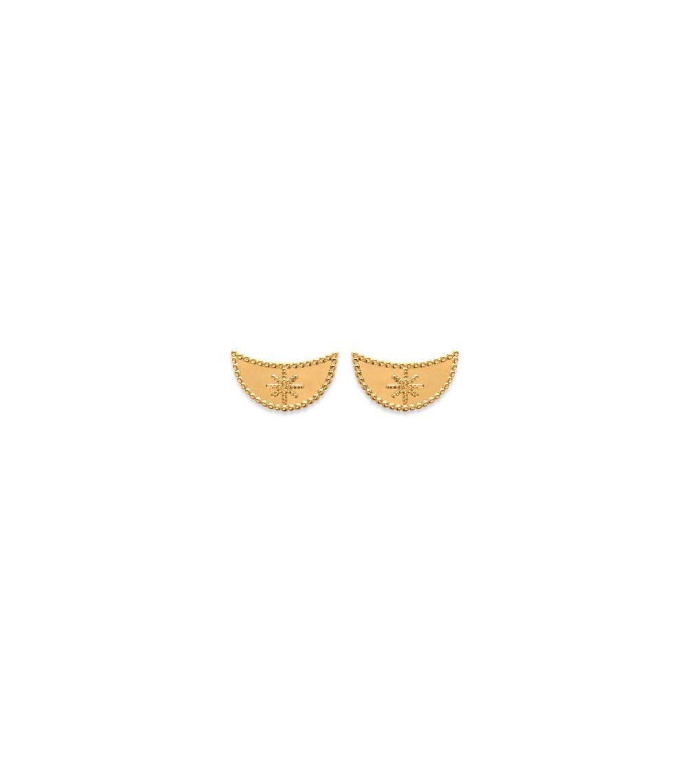 Boucles d'oreilles demi lune incrustée d'une étoile, en plaqué or, avec poussettes