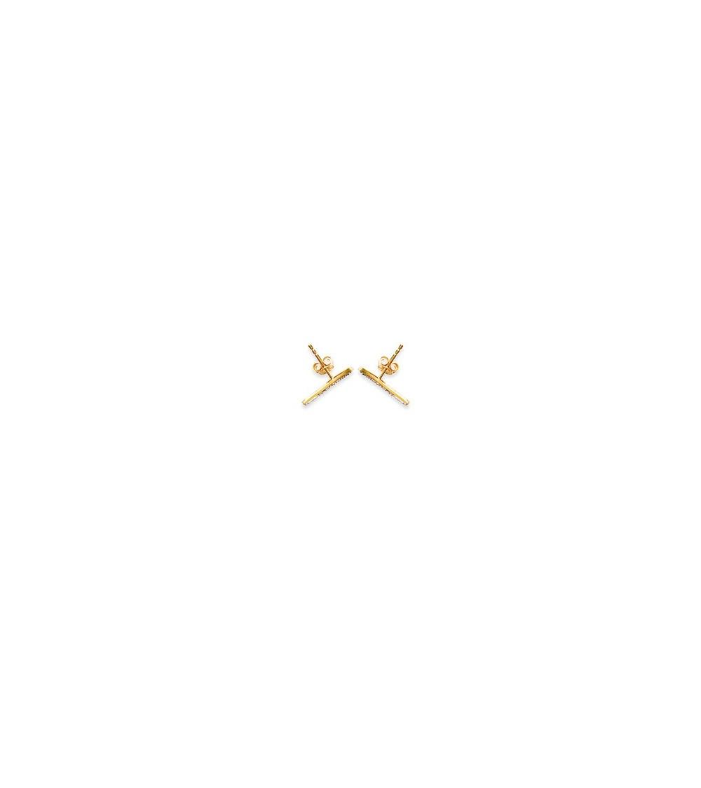 Boucles d'oreilles contour d'oreilles en plaqué or avec oxydes de zirconium, avec poussettes