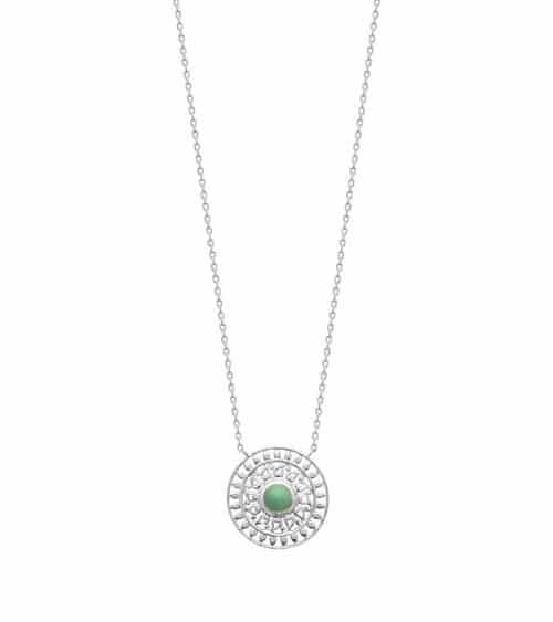 """Collier """"soleil"""" en argent 925/1000 rhodié et aventurine, en longueur 45 cm réglable en 42 et 40 cm"""