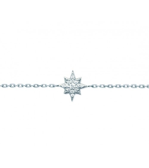 """Bracelet """"étoile"""" en argent 925/1000 rhodié et oxydes de zirconium, longueur 18 cm réglable à 16 cm"""