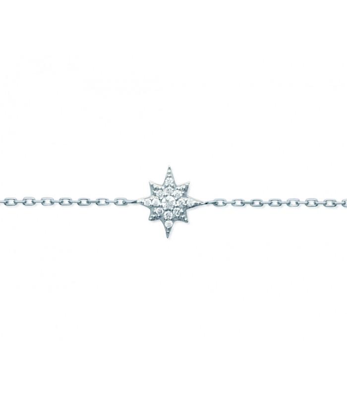 """Bracelet """"étoile des neiges"""" en argent 925/1000 rhodié et oxydes de zirconium, longueur 18 cm réglable à 16 cm"""