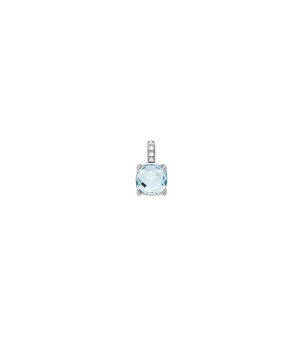 Pendentif seul en argent 925/1000 rhodié, oxydes de zirconium et pierre de synthèse bleu-ciel (voir chaîne vendue séparément)