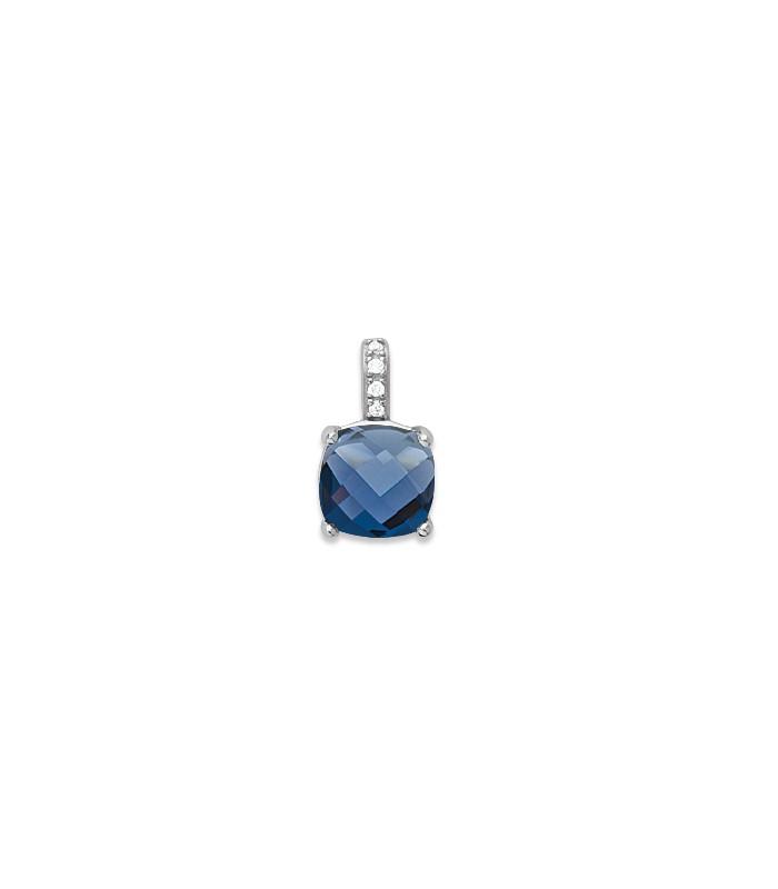 Pendentif seul en argent 925/1000 rhodié, oxydes de zirconium et pierre de synthèse bleu saphir (voir chaîne vendue séparément)