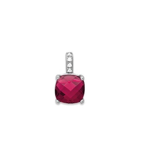 Pendentif seul en argent 925/1000 rhodié, oxydes de zirconium et pierre de synthèse rouge (voir chaîne vendue séparément)