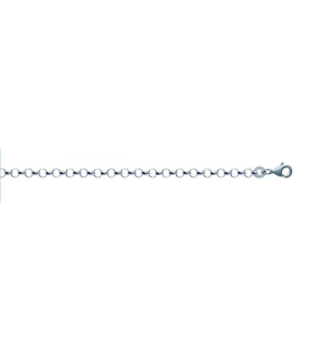 Bracelet en argent 925/1000 maille jaseron, en longueur 18 cm