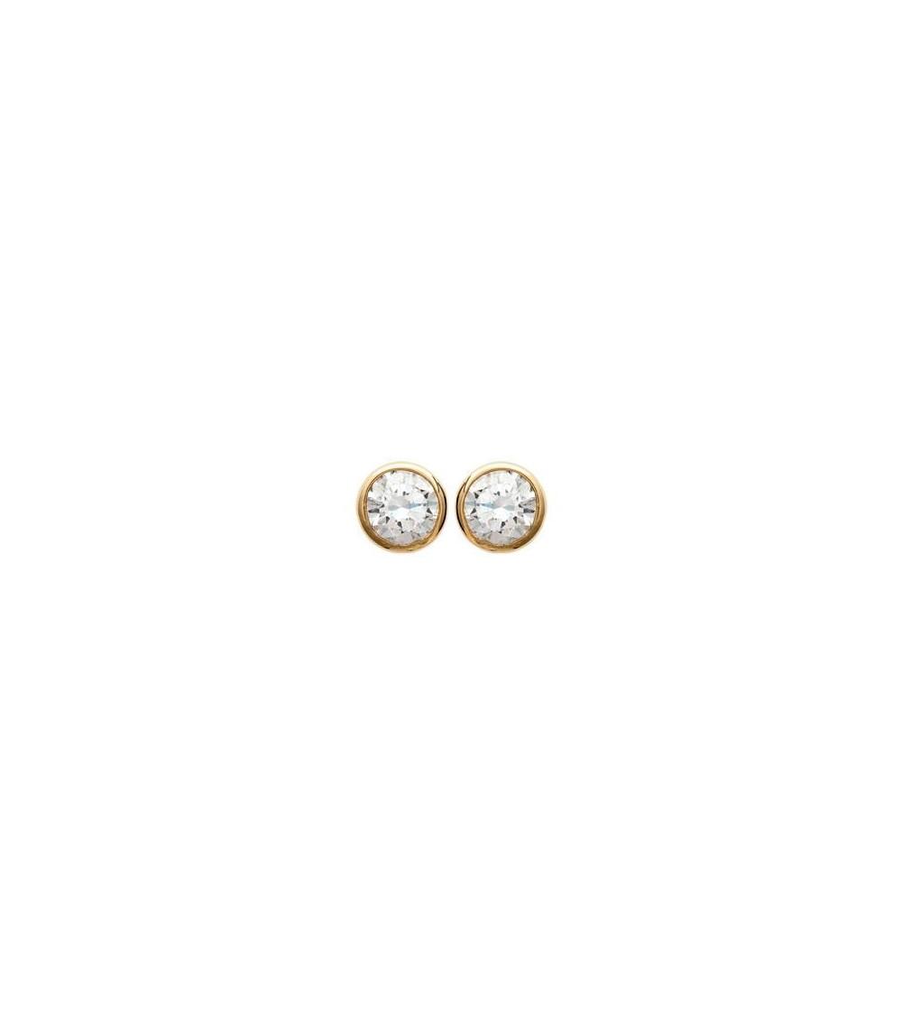 Boucles d'oreilles en plaqué or et oxydes de zirconium blancs sertis clos, avec poussettes (diamètre 5 mm)