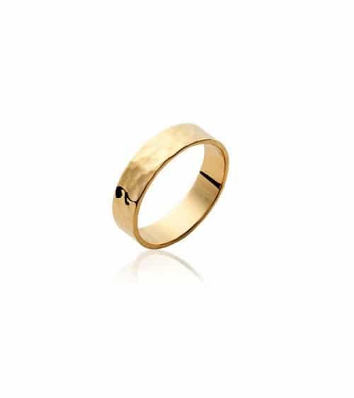 Bague anneau en plaqué or martelé